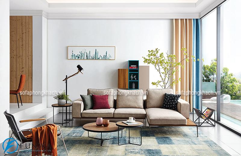 Bố trí bộ ghế sofa phòng khách hì hòa với tổng thể căn phòng