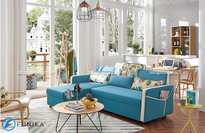 Mẫu ghế sofa góc thiết kế dạng giường đa năng