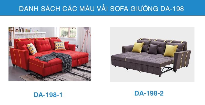 bảng màu sofa giường góc DA-198