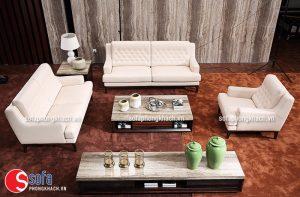 Ghế sofa chữ U phù hợp với những không gian phòng khách rộng mang lại cảm giác gần gũi, ấm áp