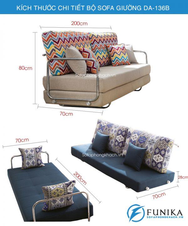 kích thước chi tiết sofa giường DA-136B