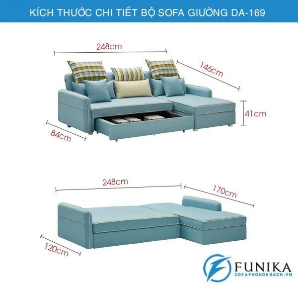 kích thước chi tiết sofa giường DA-169-5