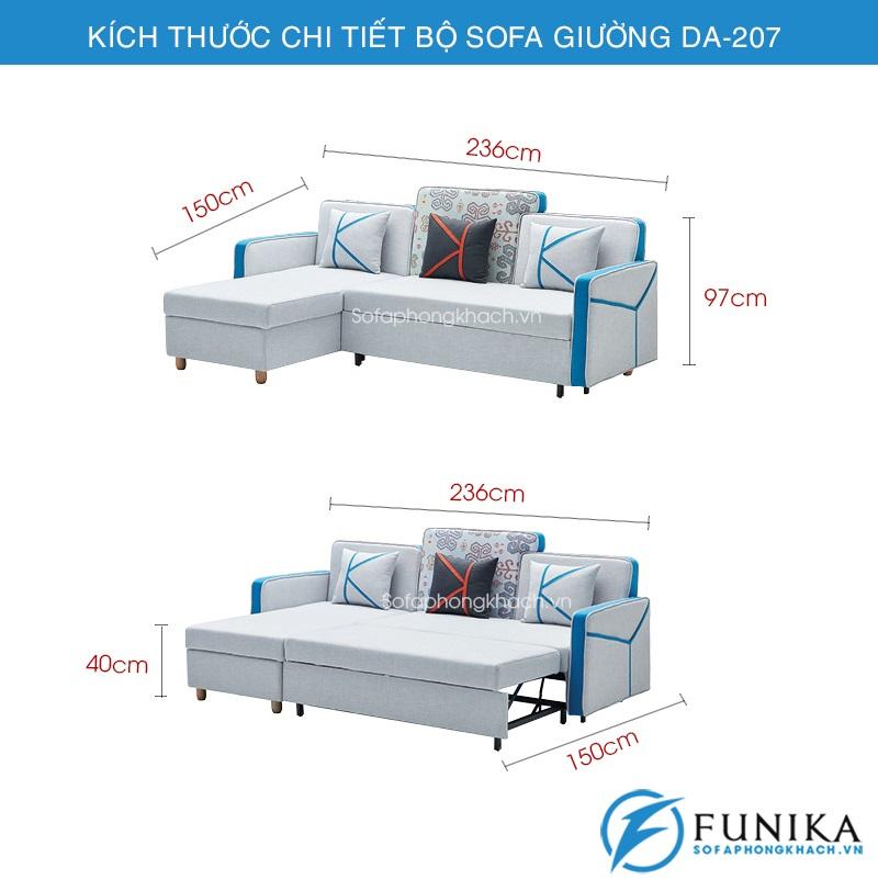 kích thước sofa giường DA-207
