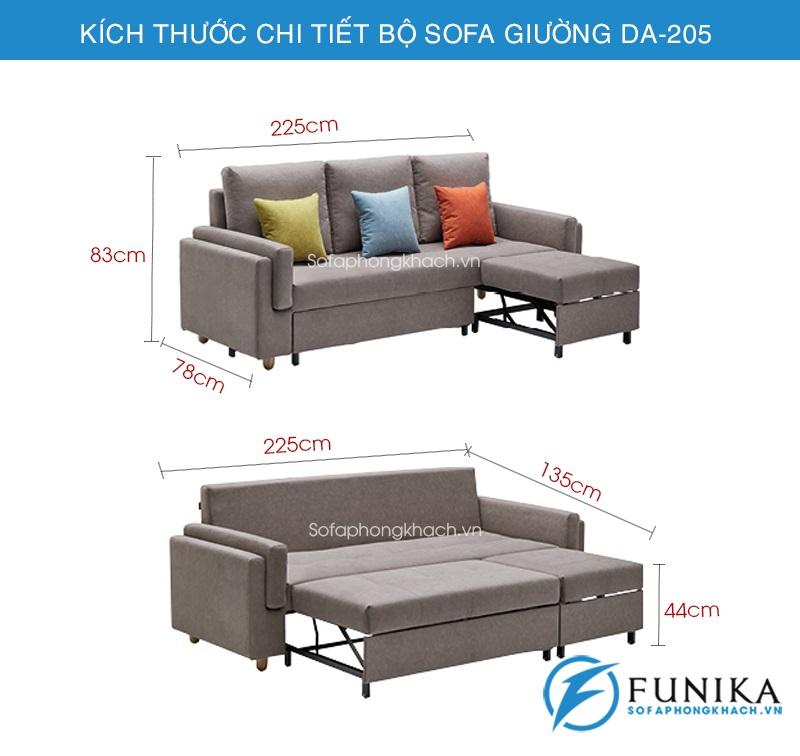 kích thước sofa giường đa năng DA-205