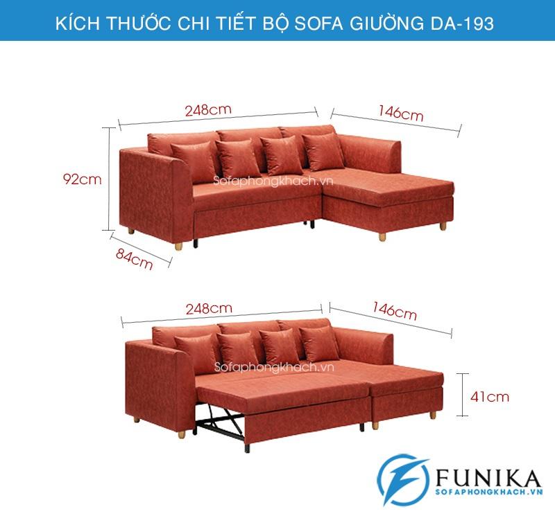 kích thước sofa giường đa năng DA-193