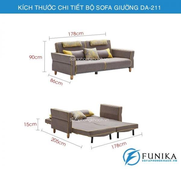 kích thước Sofa giường đa năng DA-211