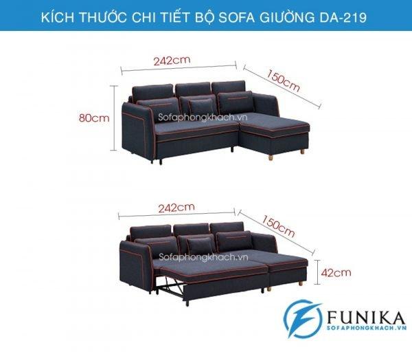 kích thước sofa giường đa năng DA-219