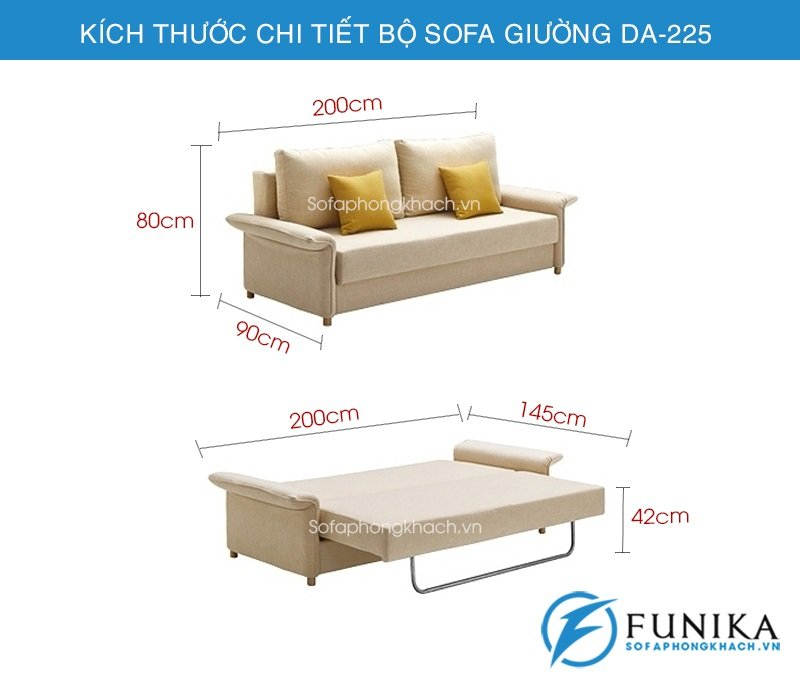 kích thước sofa giường đẹp DA-225
