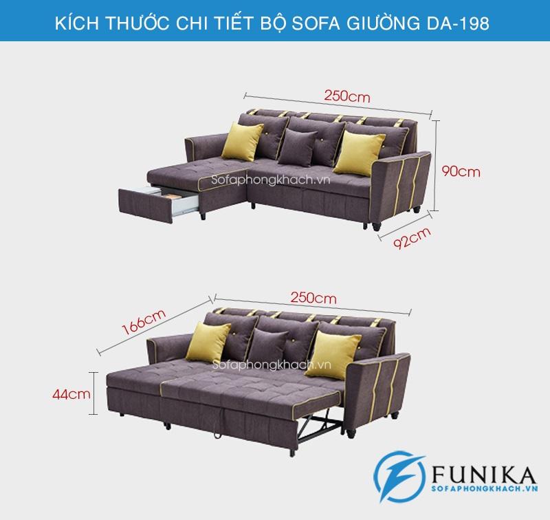 kích thước sofa giường góc DA-198
