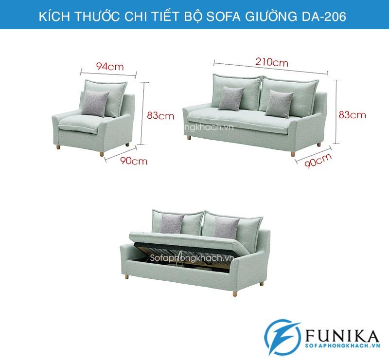 kích thước Sofa giường thông minh DA-206