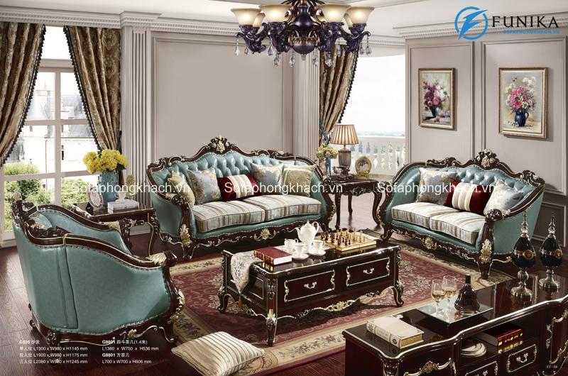 Ghế sofa cổ điển châu Âu với sắc xanh mát mắt và tươi tắn