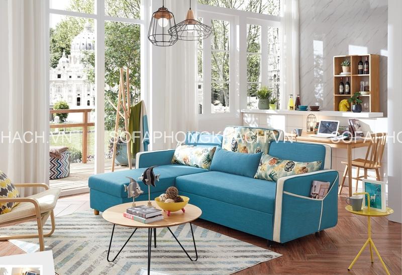Rất nổi bật và cũng rất êm dịu, đó là màu xanh của ghế sofa giường đa năng
