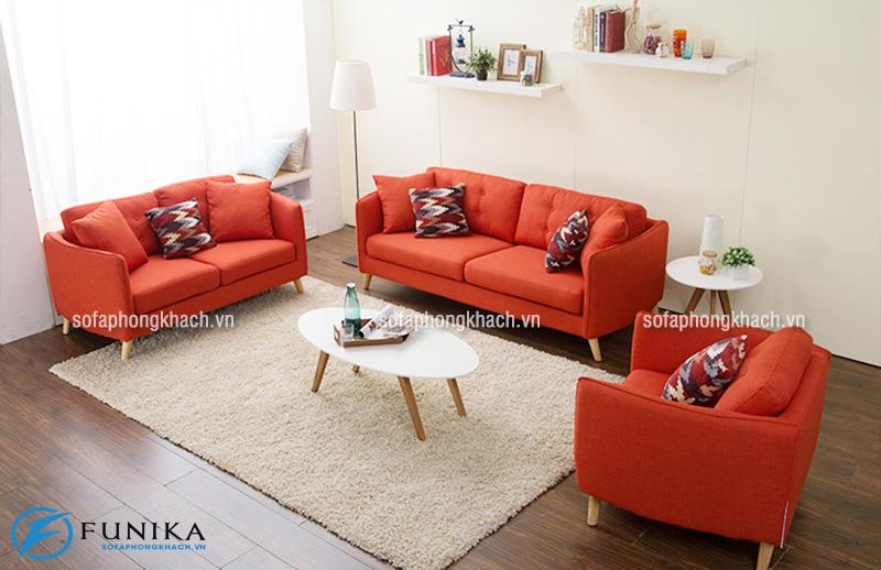 Ghế sofa hiện đại màu cam nổi bật
