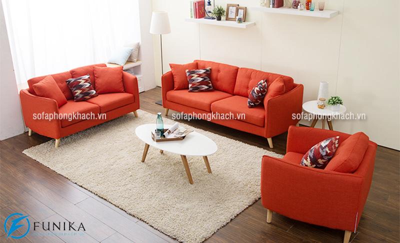 Bộ ghế sofa khung gỗ sồi với nệm ghế màu đỏ sang trọng và ấn tượng