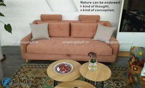 Ghế sofa văng kết hợp bàn trà tròn dành cho phòng khách nhỏ