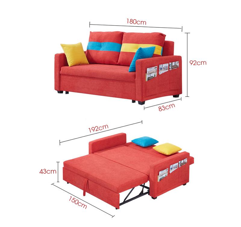 kích thước chi tiết bộ sofa giường 871