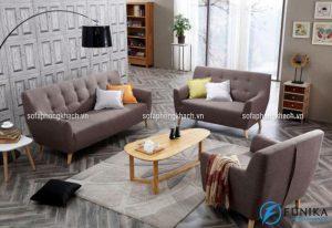 Ghế sofa khung gỗ kiểu dáng hiện đại, đơn giản với gam màu trung tính lịch lãm