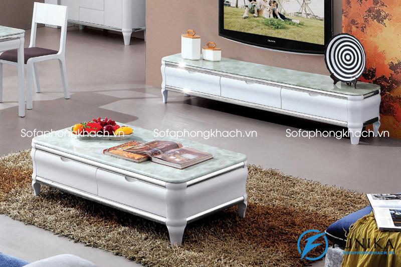 Mẫu bàn trà sofa đẹp mặt đá với màu xanh ngọc nhạt và đường vân lạ mắt