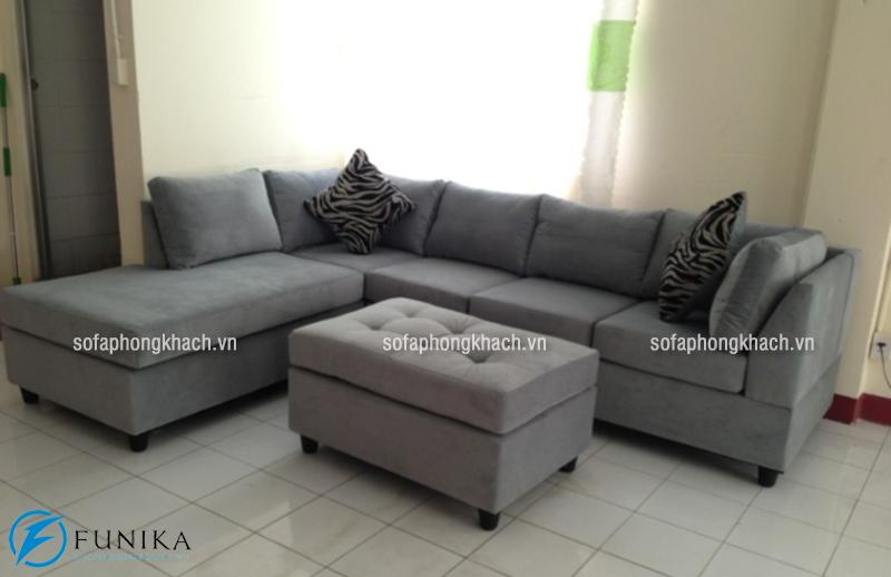 Bộ sofa nỉ nhập khẩu cao cấp màu ghi sáng lịch lãm