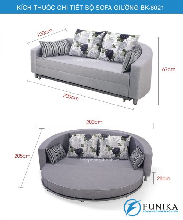 kích thước sofa giường BK-6021