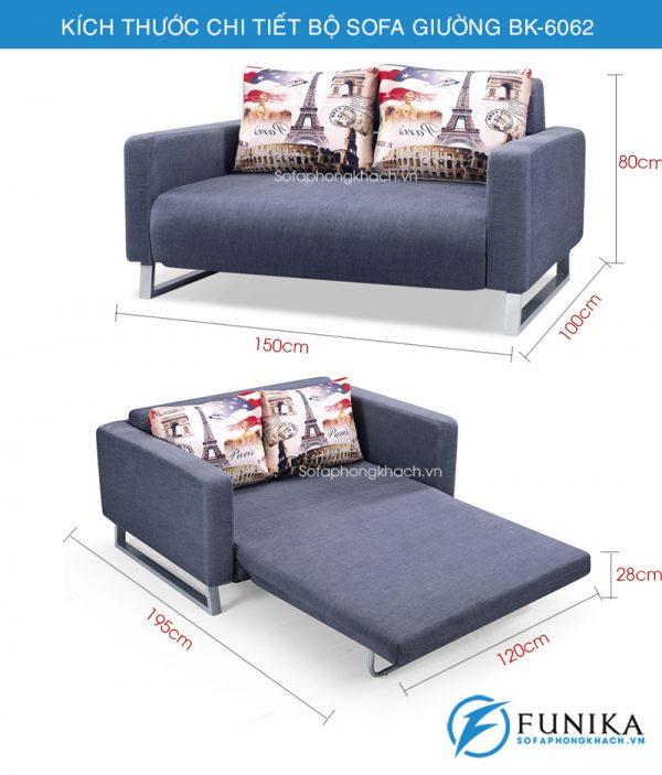 kích thước chi tiết sofa giường BK6062
