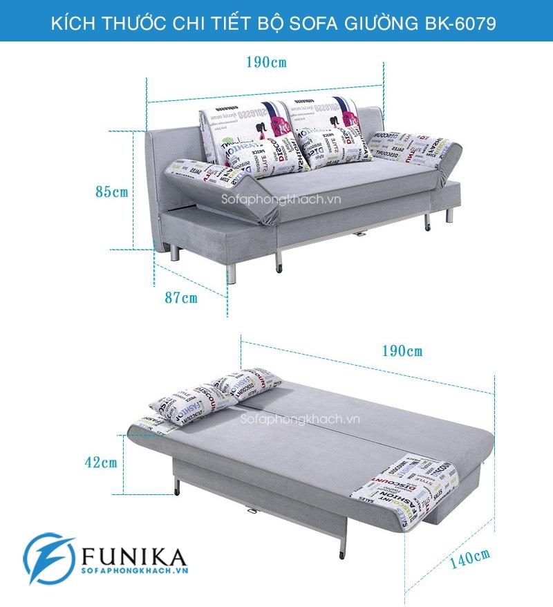 kích thước sofa giường đẹp BK-6079