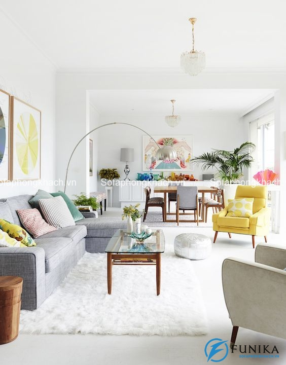 Chiếc ghế sofa phòng khách màu vàng mang đến sức sống mới cho không gian
