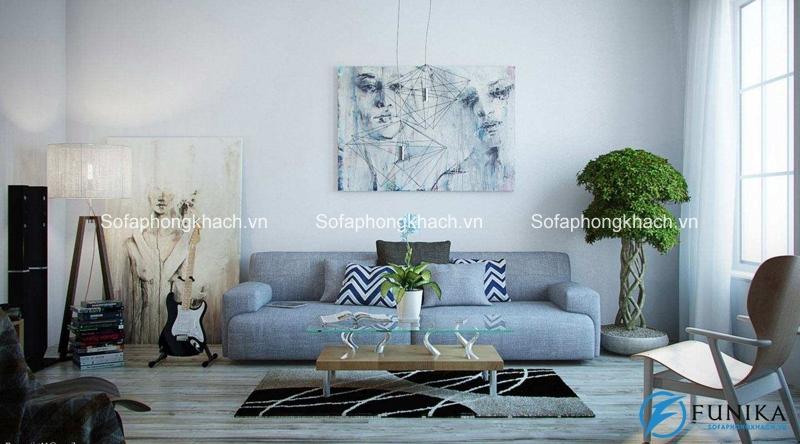 Họa tiết hình chữ V mang đến sự tinh nghịch và hiện đại cho không gian phòng khách