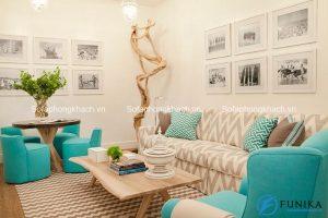 Ghế sofa kiêm giường kết hợp bàn trà đẹp cùng phong cách