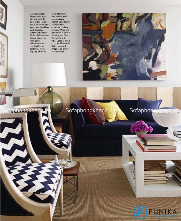 Ghế sofa có họa tiết chữ V gây ấn tượng mạnh mẽ