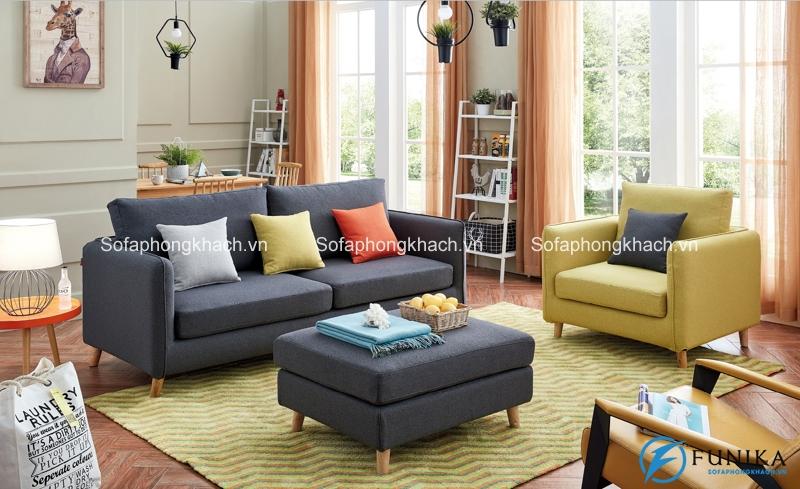 Cách phối màu cực chuẩn đã làm nên nét thu hút chết người cho bộ sofa giường màu xám kết hợp vàng chanh
