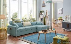 Hoặc là bạn có thể chọn màu xanh da trời dịu nhẹ cho phòng khách của mình