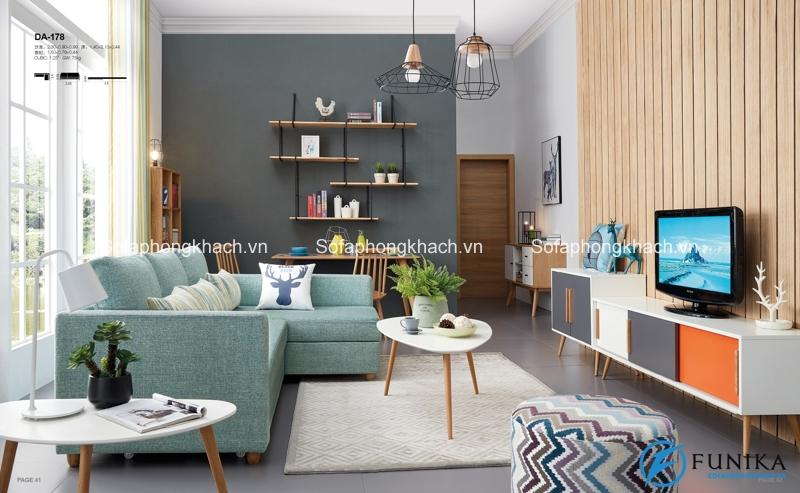 Màu xanh này cũng rất lạ mắt cho sofa giường Hà Nội