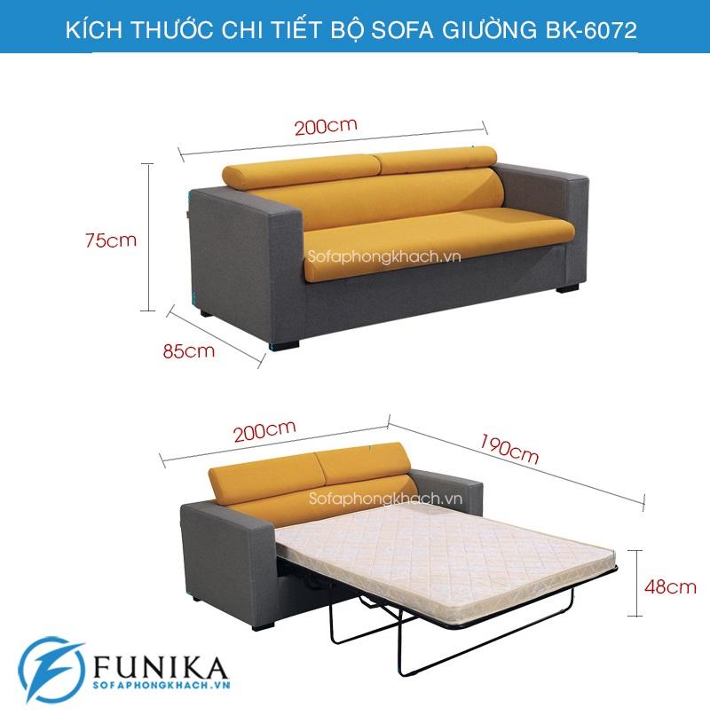 kích thước chi tiết sofa giường bk-6072
