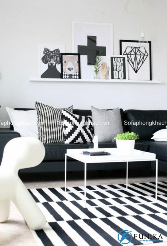 Phòng khách đẹp nổi bật khi chúng ta sử dụng màu trắng đen khéo léo
