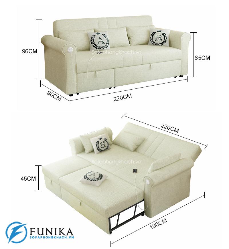 kích thước chi tiết sofa giường 7008