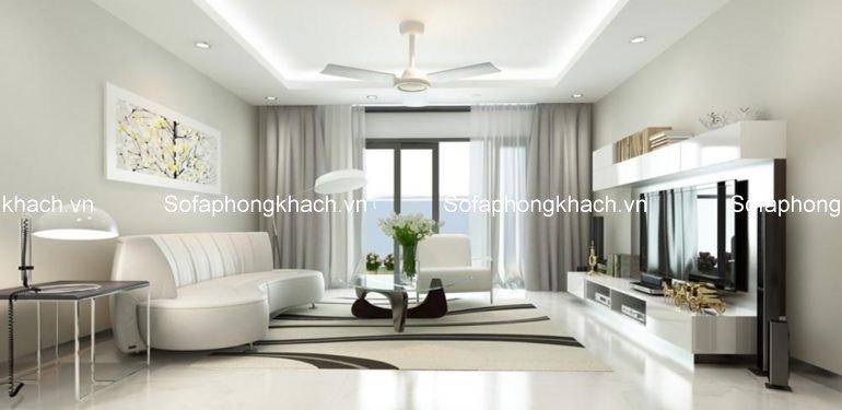 Không gian phòng khách với ghế sofa phòng khách đẹp gam màu trắng mang đến cảm giác sang trọng