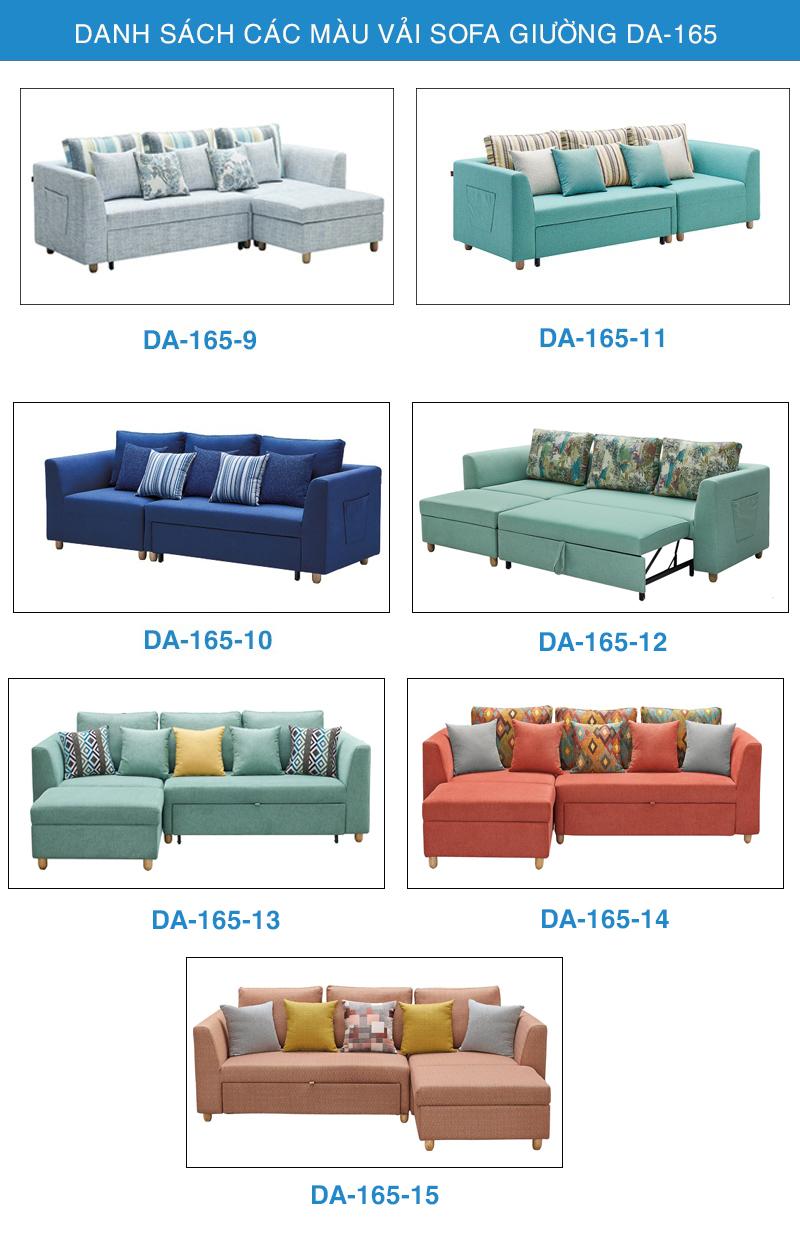 Bảng màu vải sofa giường DA-165