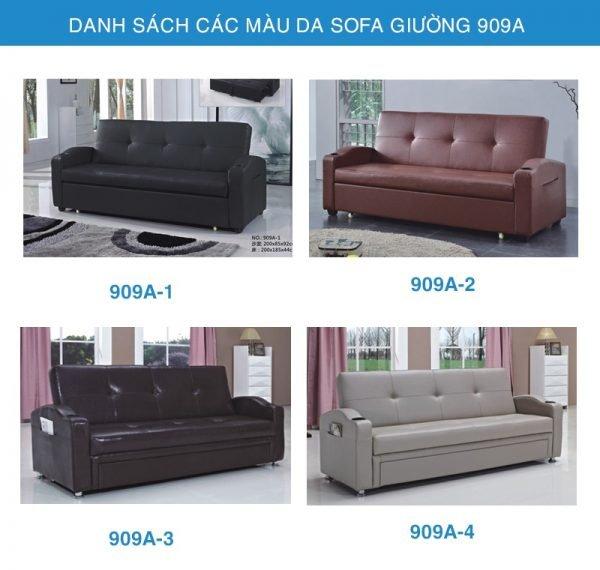 bảng màu da sofa giường da 909A