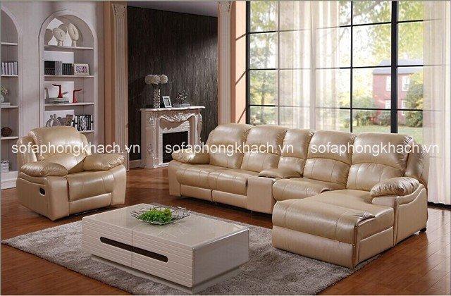 Ghế sofa da phòng khách gam màu kem cho phòng khách hiện đại