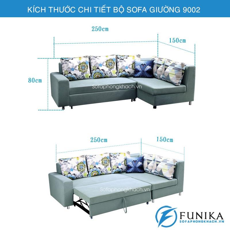 kích thước chi tiết sofa giường 9002