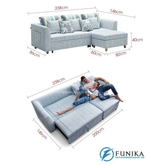 kích thước chi tiết Sofa giường đẹp DA-165-9
