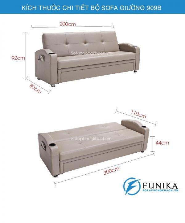 kích thước sofa giường nhập khẩu 909B