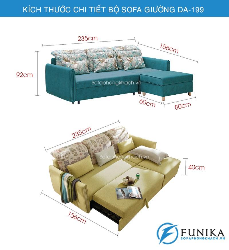 kích thước sofa giường thông minh DA-199