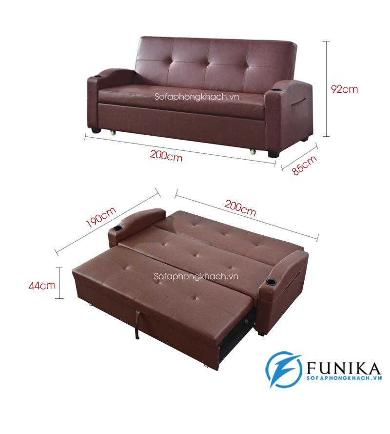 kích thước chi tiết sofa giường da 909A