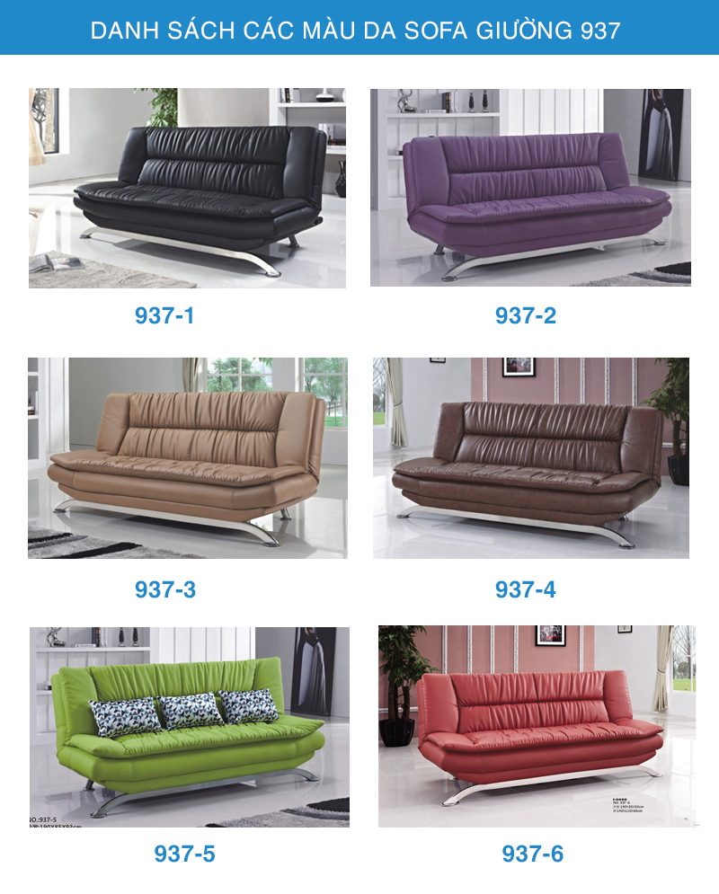 bảng màu da sofa giường 937