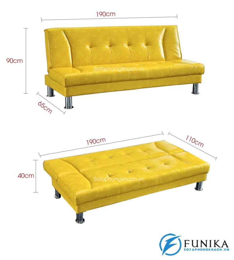 kích thước chi tiết sofa giường 907B-1
