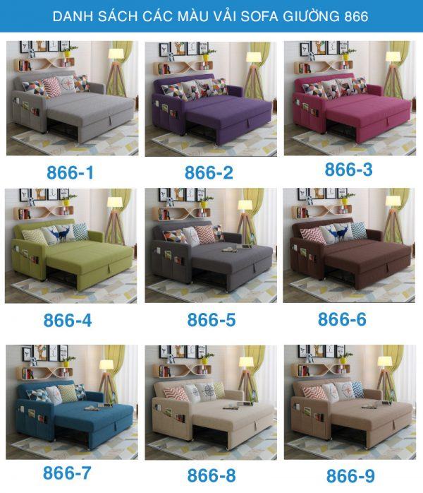 danh sách các màu vải sofa giường 866