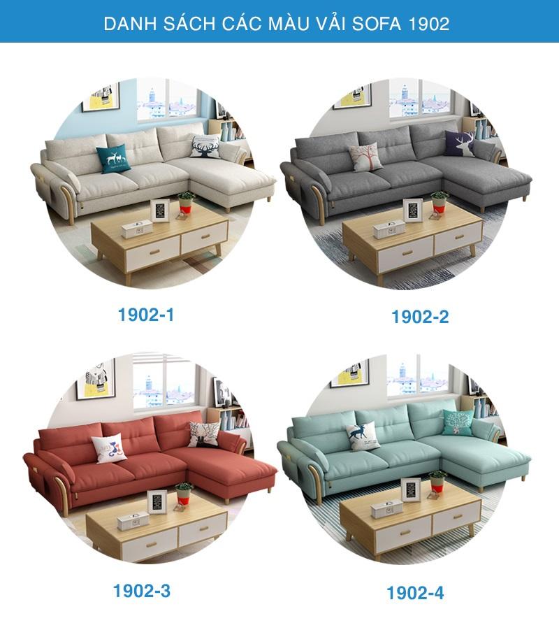 danh sách các màu vải Sofa góc 1902