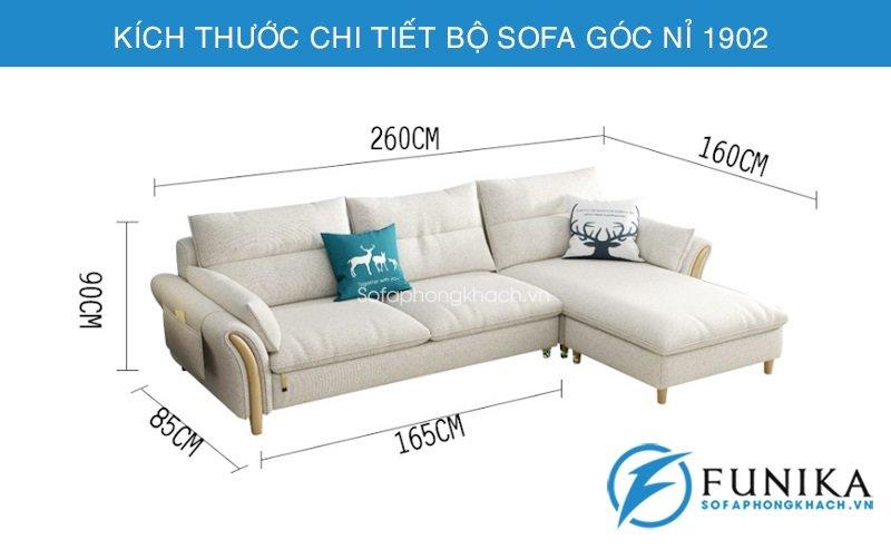 kích thước chi tiết sofa góc nỉ 1902